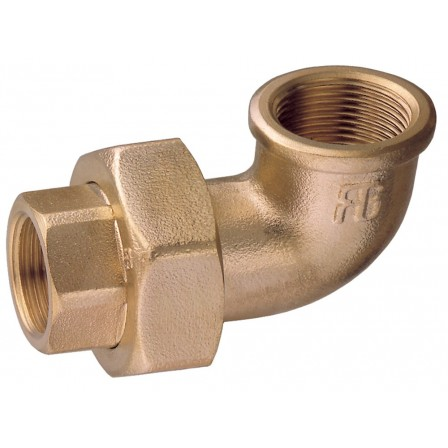 Bocchettone a 90° F-F sede conica con O-ring
