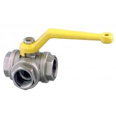 """Three ways ball valve F-F-F - """"T"""" flow"""